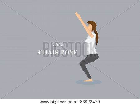 Yoga Asana Chair Pose Vector Illustration