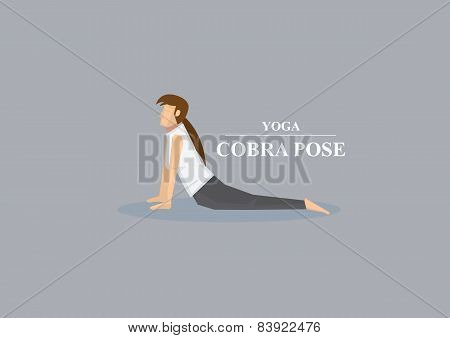 Yoga Asana Cobra Pose Vector Illustration