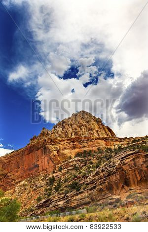 Capitol Reef Sandstone Mountain Blue Skies Capitol Reef National Park Torrey Utah