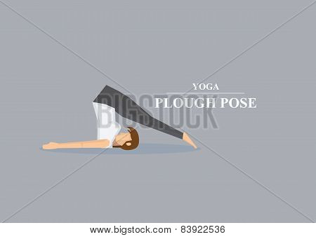 Hatha Yoga Asana Plough Pose Vector Illustration