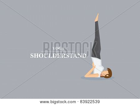Hatha Yoga Asana Shoulder Stand Pose Vector Illustration