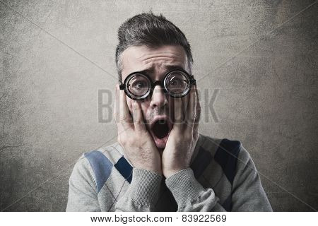 Shocked Funny Guy With Head In Hands