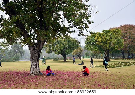 Chandigarh, India - January 4, 2015: Tourist Visit Zakir Hussain Rose Garden