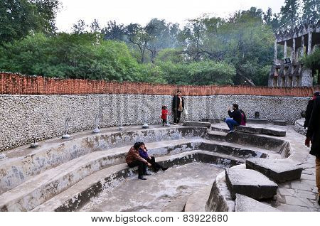 Chandigarh, India - January 4, 2015: People Visit Rock Statues At The Rock Garden