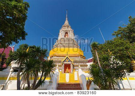 stupa under sun light with sky background