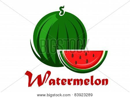 Cartoon striped green watermelon with slice
