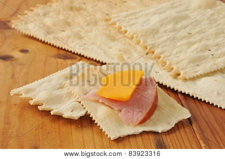 Ham And Cheese On Crackers