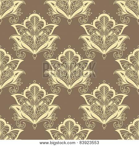 Contoured persian flowers vintage seamless pattern