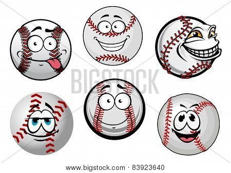 Smiling baseball balls cartoon characters