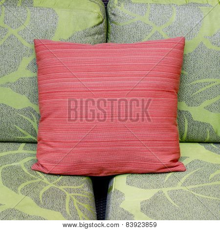 Contrast Colors Of A Modern Living Room With Green Sofa And Red Cushion