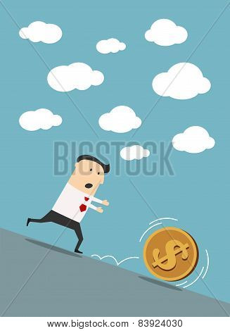 Businessman chasing dollar coin in cartoon style