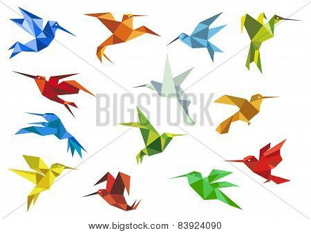 Abstract origami hummingbirds design elements