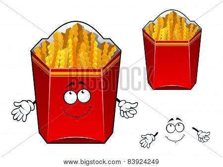French fries wavy slices cartoon character