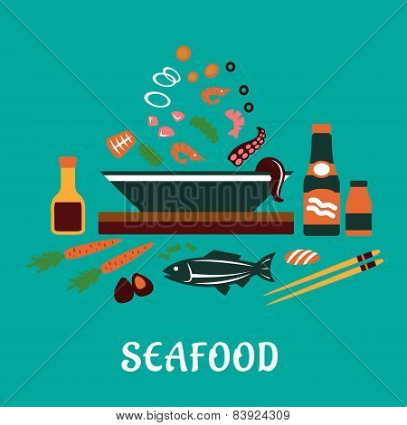 Flat seafood dish concept  with salad ingredients