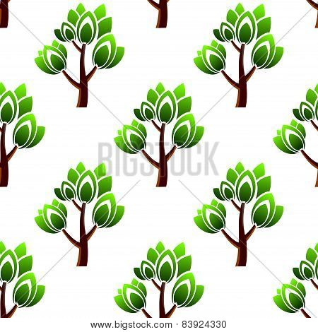 Seamless trees with leafy branches pattern