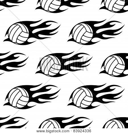 Volleyball ball with tribal flames seamless pattern