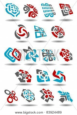 Abstract icons with arrows, map pointers, mazes