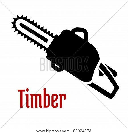 Black petrol chainsaw logo or emblem