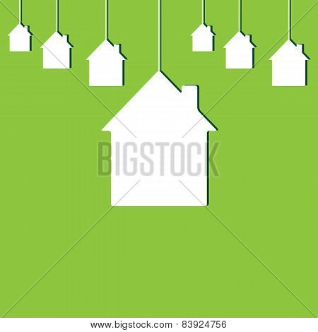 Background With Hanging Houses. New House Concept