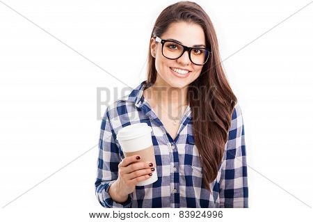 Latin Hipster Girl Drinking Coffee
