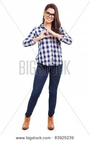 Cute Girl Making A Heart Sign