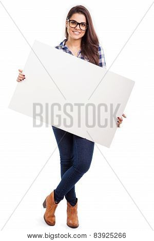 Cool Girl Holding A White Sign