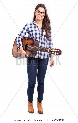 Pretty Musician With A Guitar
