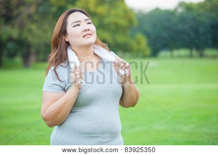 Happy Fat Fit Woman Posing Outdoor