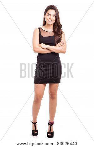 Cute Girl In A Black Dress