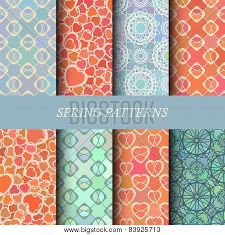 Collection Of Abstract Geometric Spring Patterns