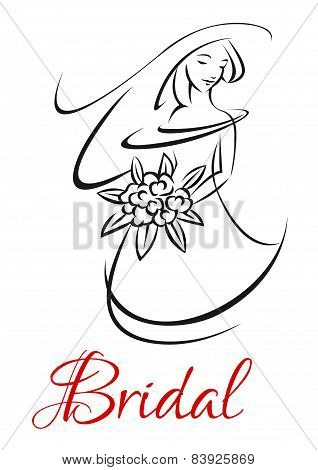 Pretty bride in wedding invitation template