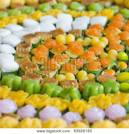 Thai Sweets, Or Khanom Thai, Have Unique, Colorful Appearance And Distinct Flavors. The Art Of Thai