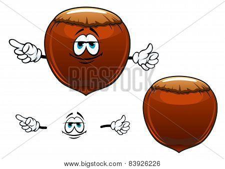 Smiling hazelnut fruit cartoon character
