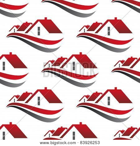 Red house roofs seamless pattern