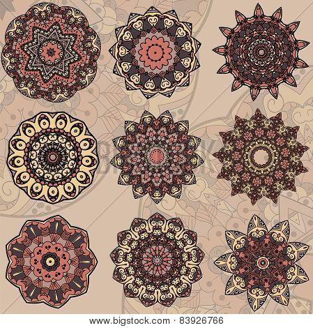 Set of 9 mandalas