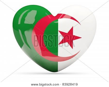 Heart Shaped Icon With Flag Of Algeria