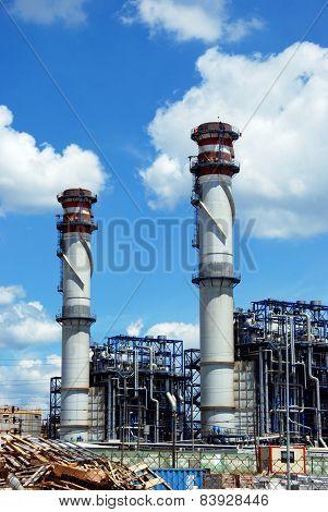 Refinery chimney stacks, Puente Mayorga.