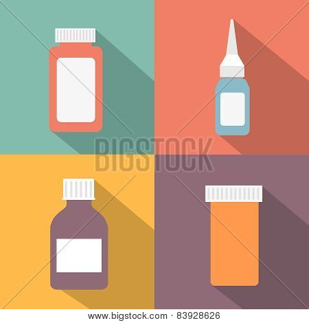 Flat style medical pharmaceutical bottles glasses containers scales icon set.