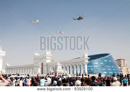 Astana, Kazakhstan - 7 May 2014: Military Parade On The Day Of The Kazakh Army. Astana, Kazakhstan