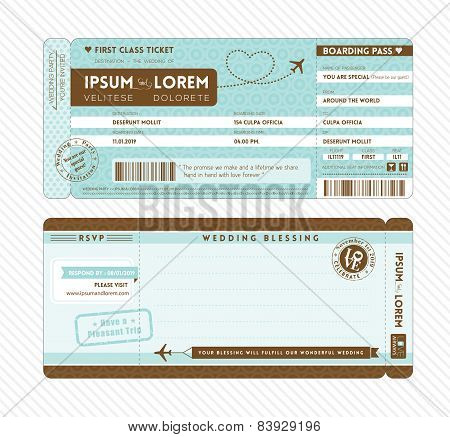 Boarding Pass Wedding Invitation Template