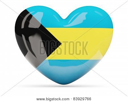 Heart Shaped Icon With Flag Of Bahamas