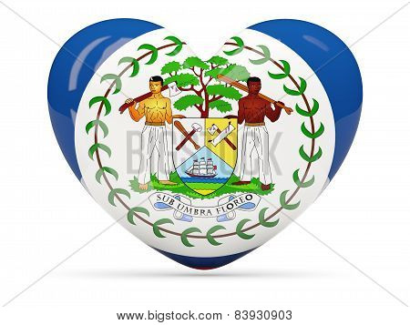 Heart Shaped Icon With Flag Of Belize