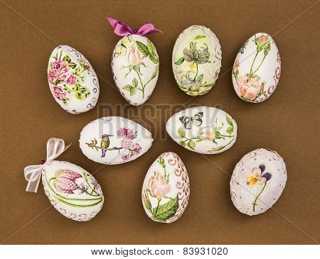 Decorated Easter Eggs On The Brown Paper