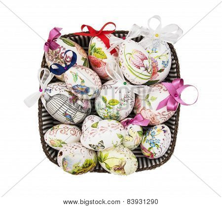 Wicker Basket Full Of Painted Easter Eggs