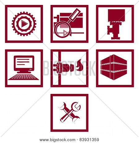Set Of Icons. Gas And Energy Industry