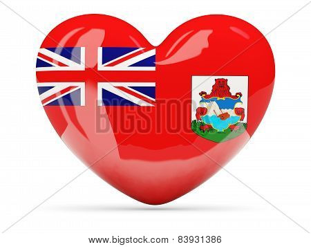 Heart Shaped Icon With Flag Of Bermuda