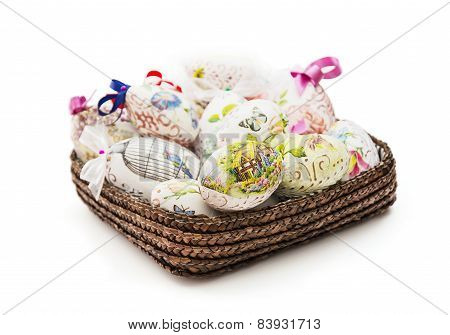 Wicker Basket Full Of Various Easter Eggs