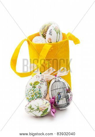 Decorated Easter Eggs And Yellow Basket