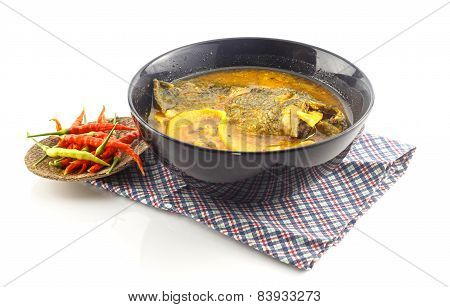 Thai Food - Hot And Sour Soup With Fish And  Preserved Bamboo Shoot