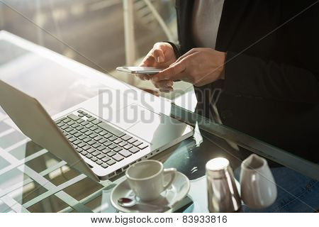 Businesswoman Texting With Her Smart Phone